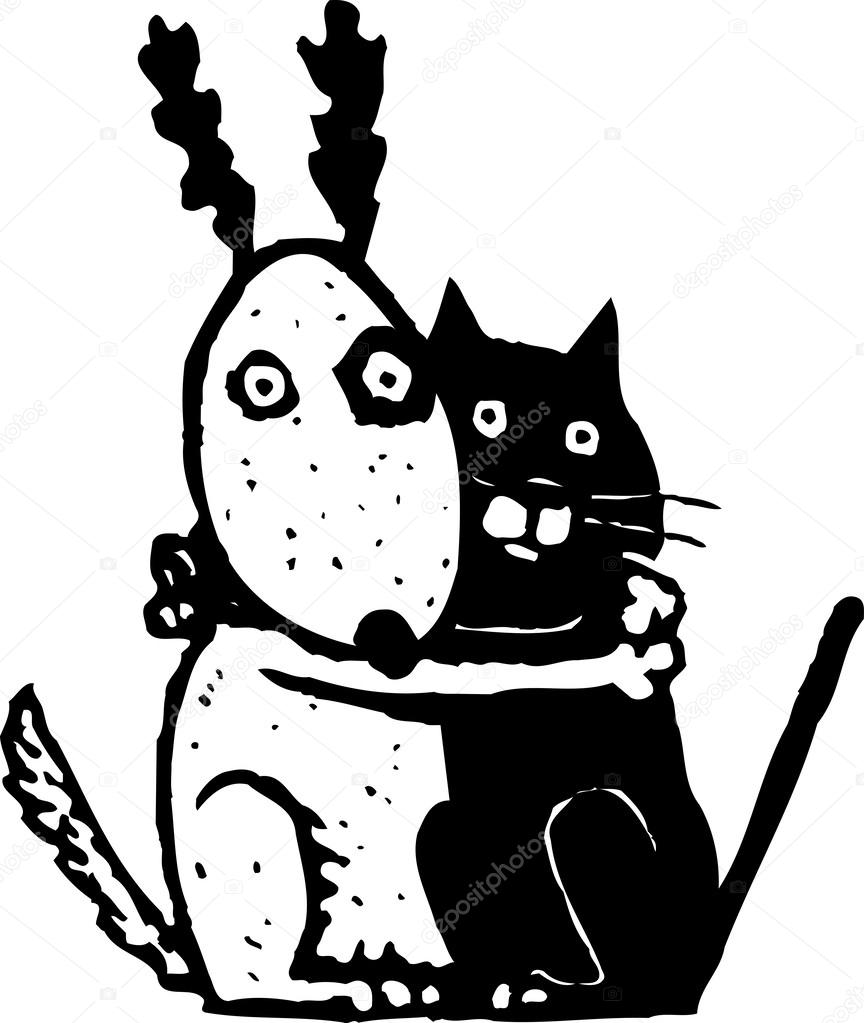 864x1023 Illustration Of Scared Cat And Dog Holding Each Other Stock