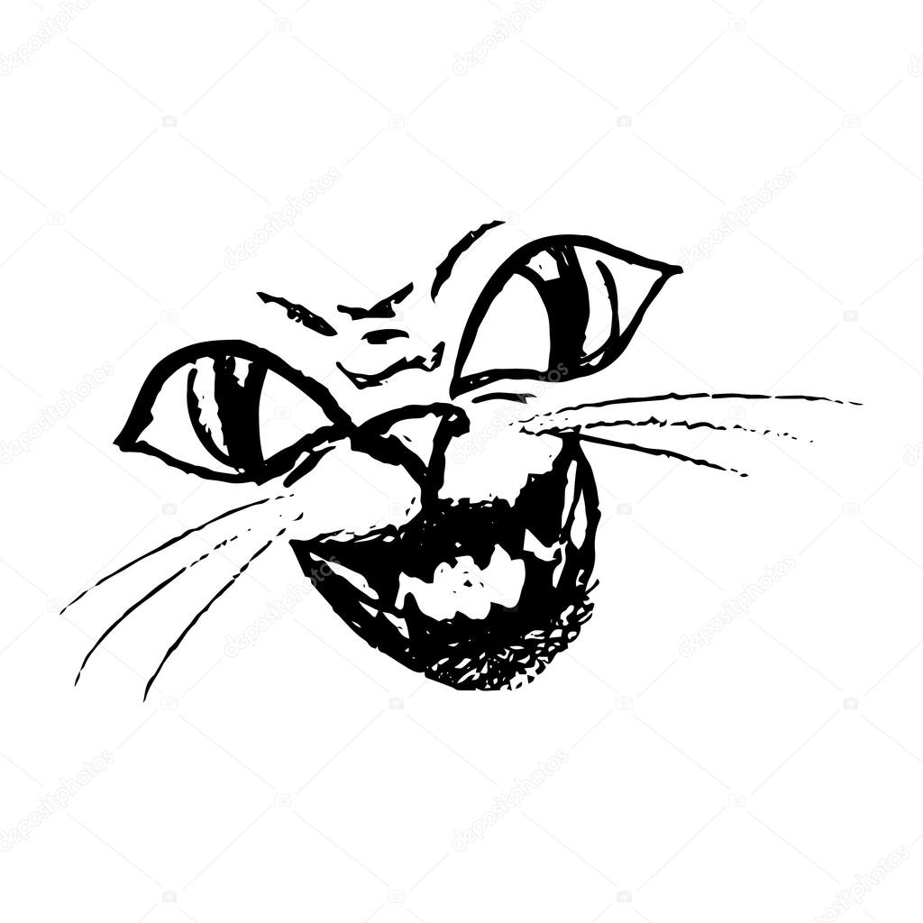 1024x1024 Smile Scary Cat, Angry Face Stock Vector Mila Endo