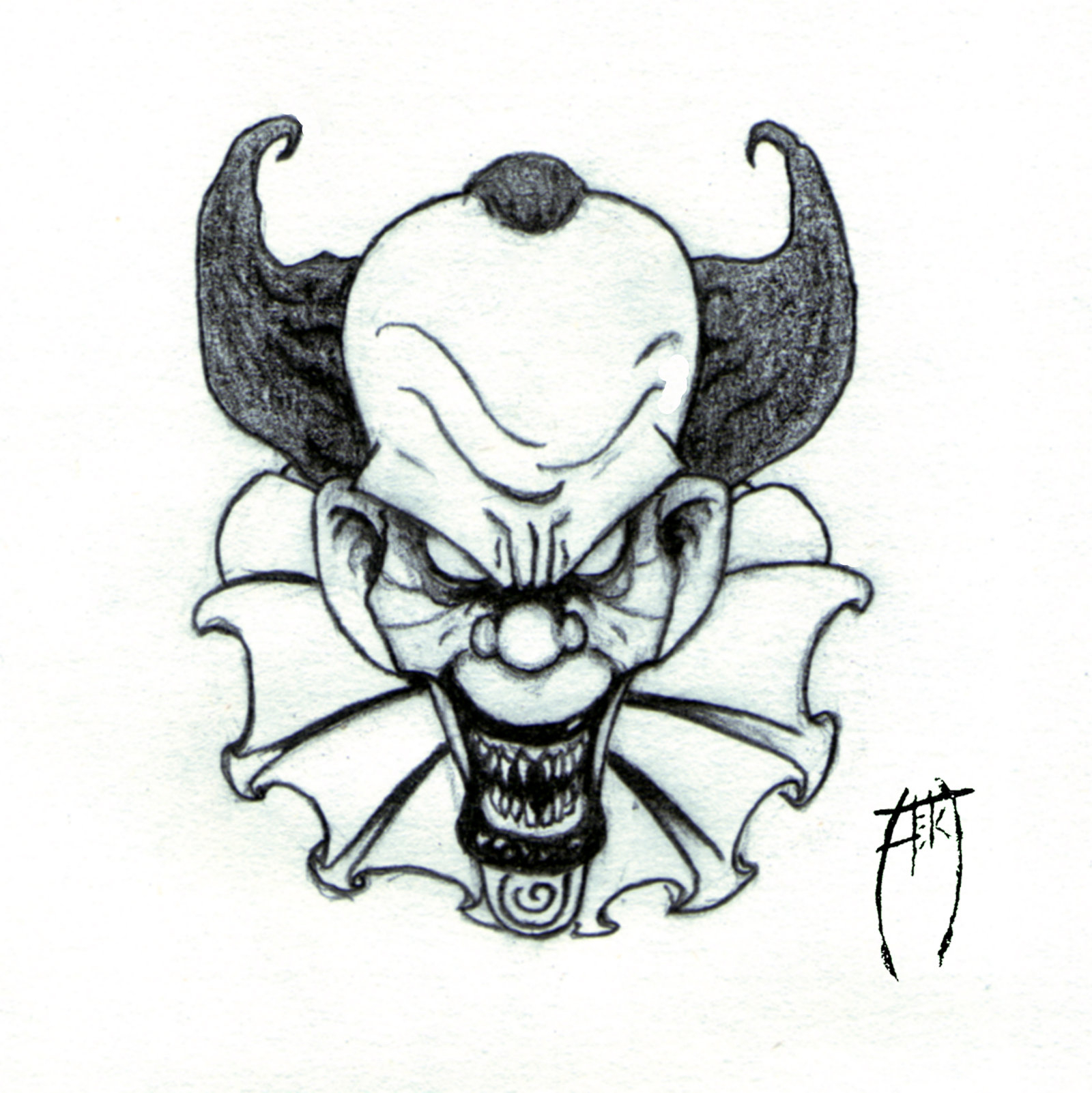 1600x1602 Creepy Clown Drawing Drawn Clown Skull