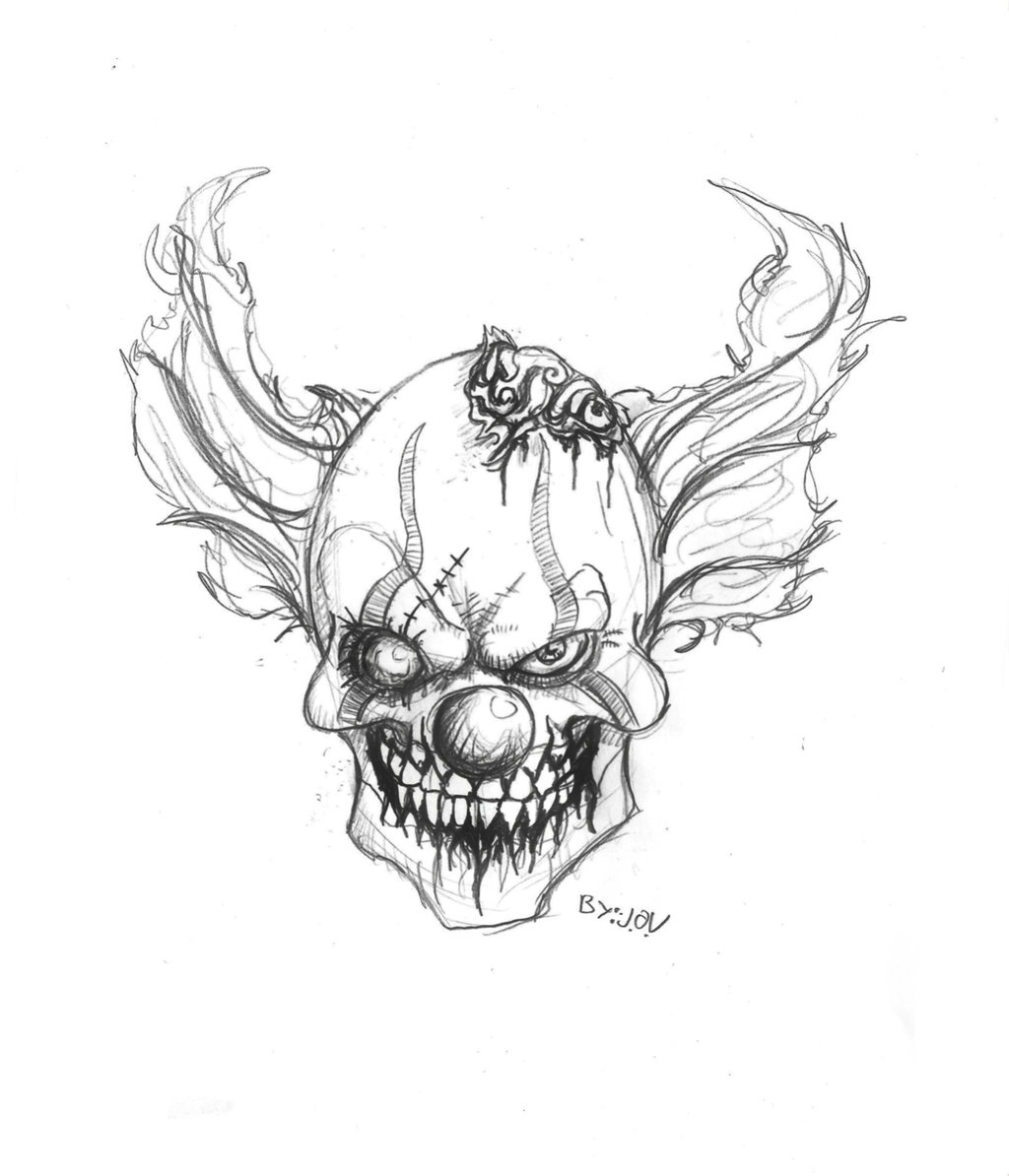 1024x1194 Creepy Clown Drawing Easy Way To Draw Scary Clowns Free Download