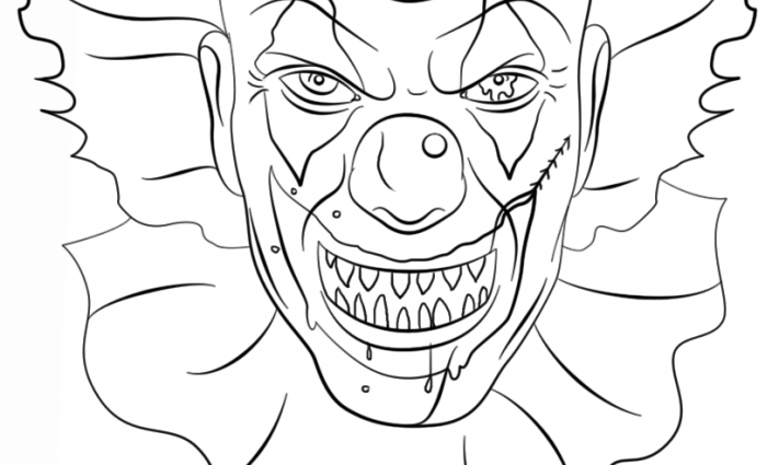 711x425 Scary Clown Face Coloring Pages Coloring Page For Kids