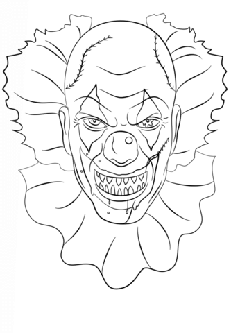 333x480 Scary Clown Coloring Page Free Printable Coloring Pages