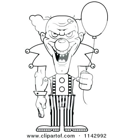 450x470 Clowns Coloring Pages Evil Clown Coloring Pages Scary Clowns