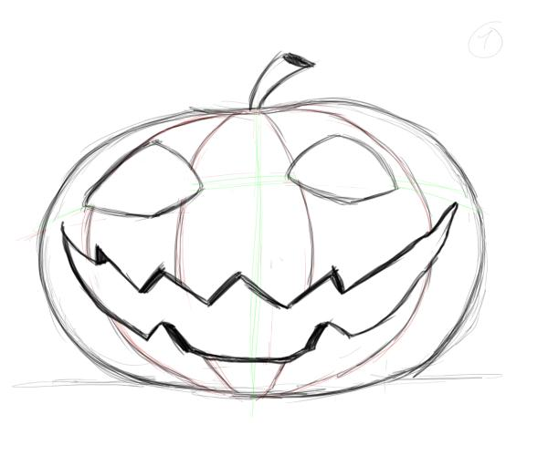 600x500 Drawn Pumpkin Creepy