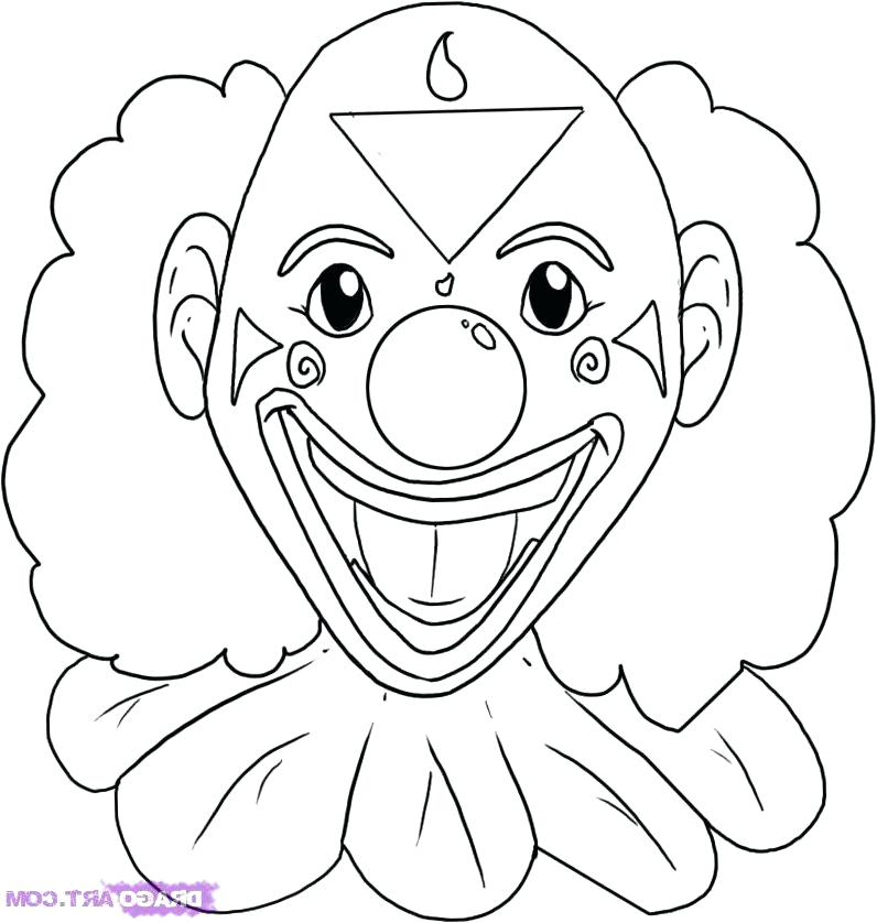 796x838 Scary Clown Coloring Page Clown Drawing Free Coloring Pages Scary