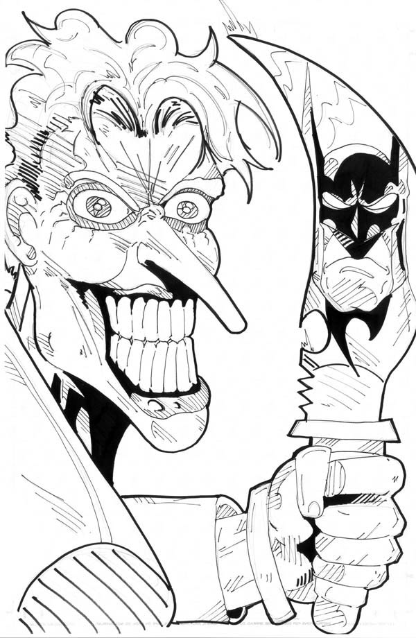 600x920 Scary Joker With Knife Coloring Page