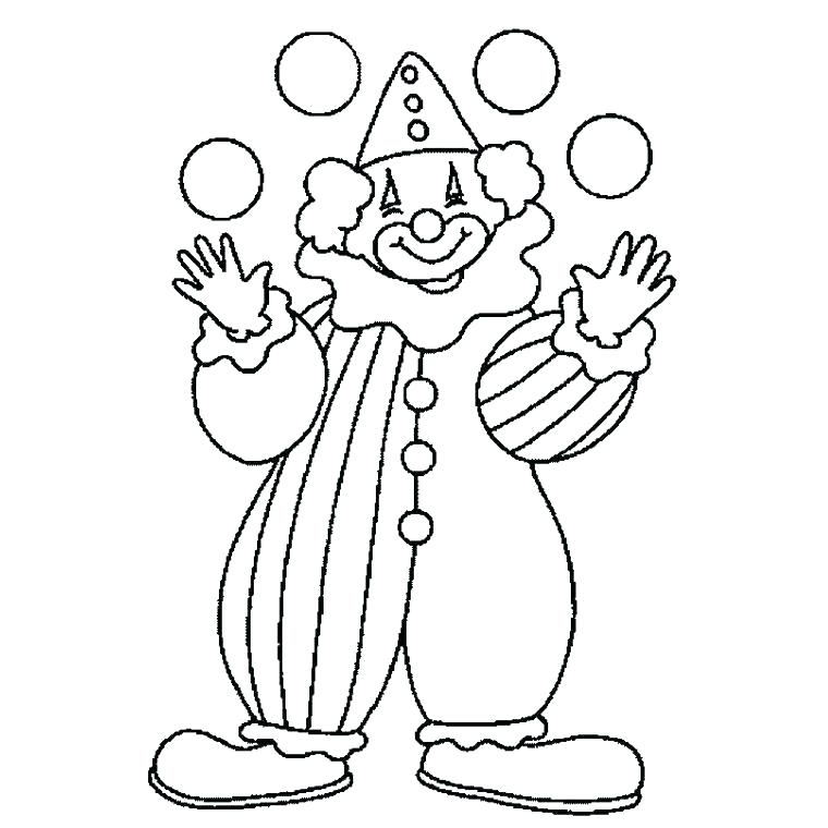 760x760 Clown Coloring Page