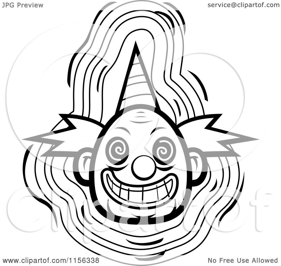1080x1024 Cartoon Clipart Of A Black And White Evil Clown Face With A Party
