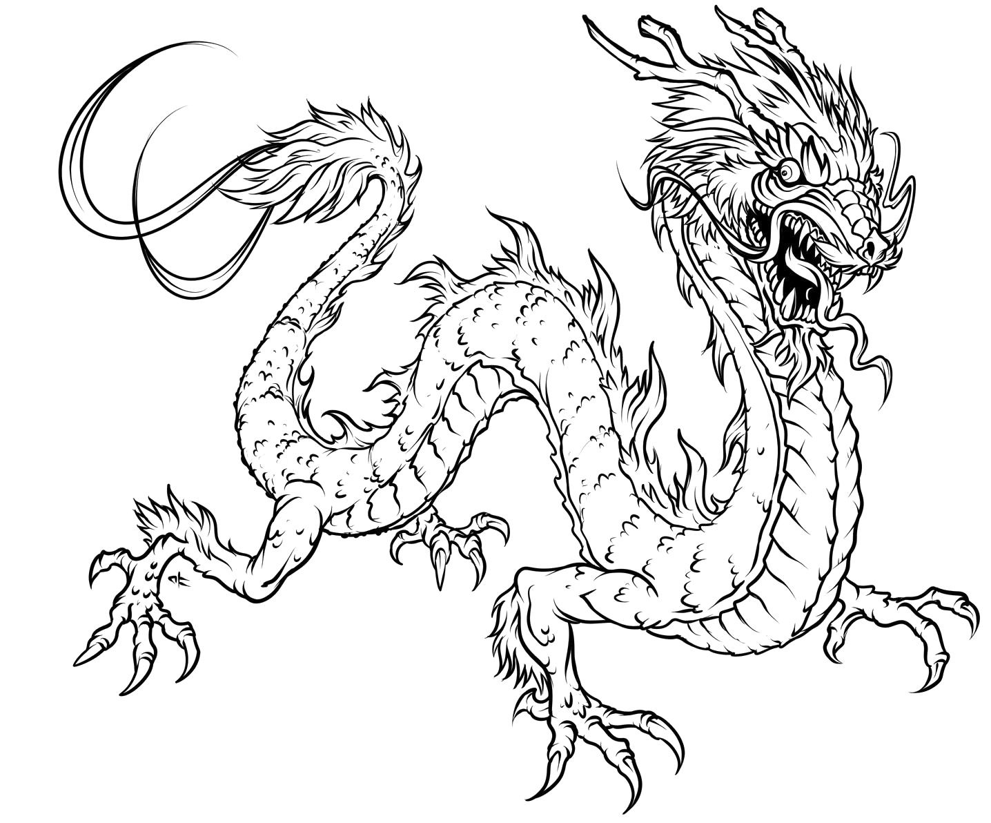 1436x1192 Dragon Coloring Pages For Adults To Download And Print For Free