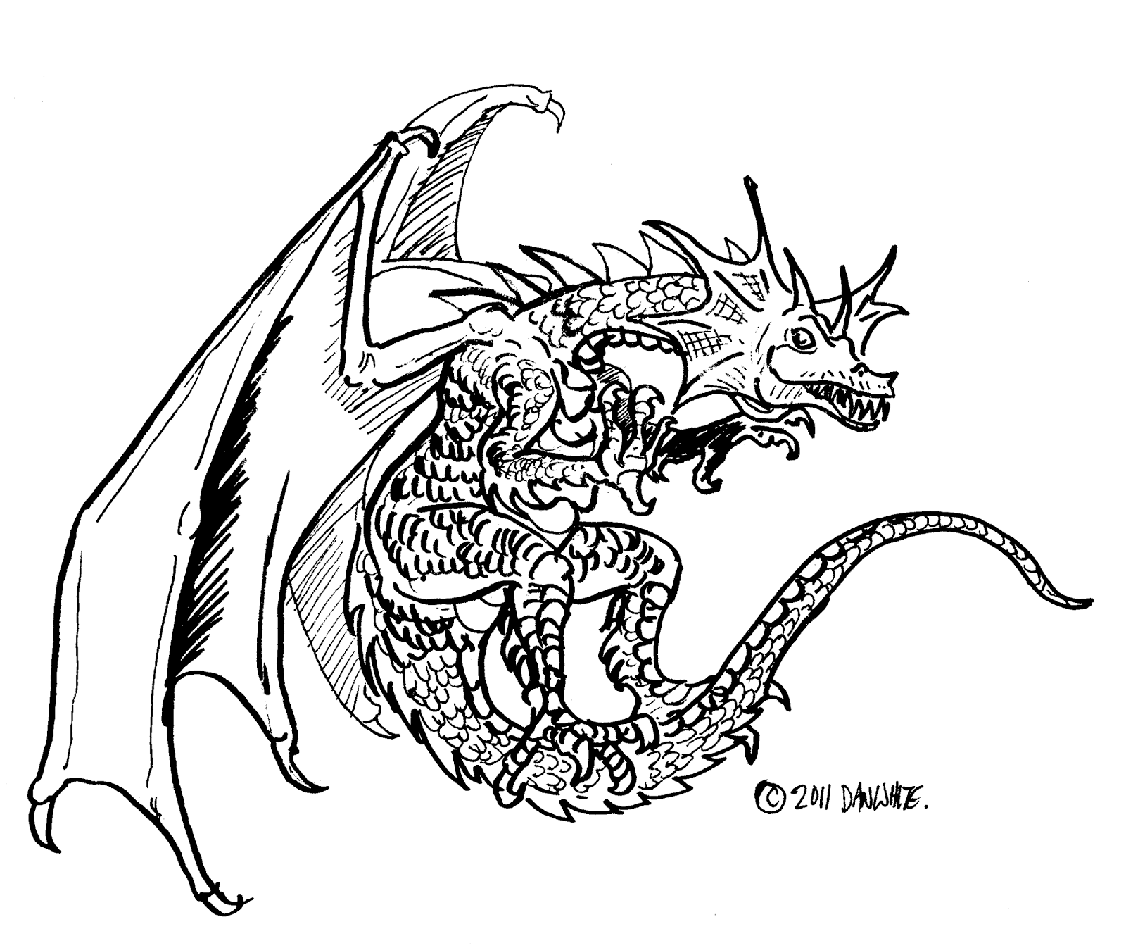 Scary Dragon Drawing at GetDrawings | Free download