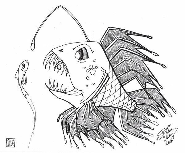600x496 Draw A Scary Fish By Diana Huang On Things To Paint