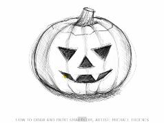 238x178 How To Draw A Scary Jack O Lantern Pumpkin