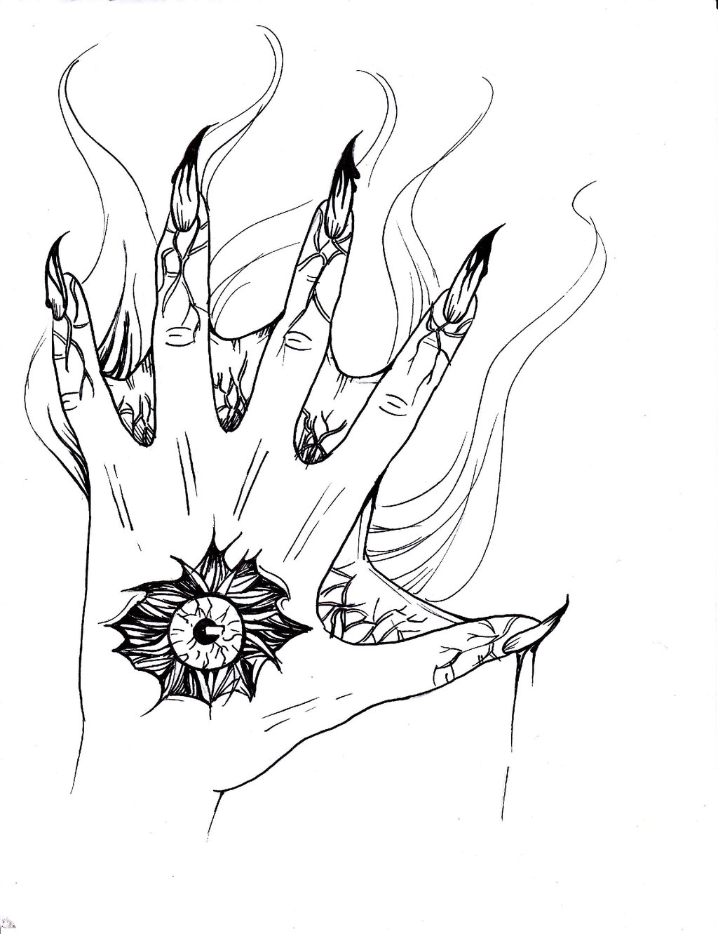 1024x1331 A Creepy Hand Drawing By Deepseastar