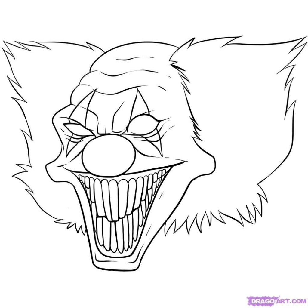 1024x1024 Scary Clown Drawings Scary Clown Pictures To Color