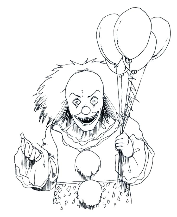 736x902 Best Coloring Pages Of Scary Clowns Fee Evil Clown Page In Spooky