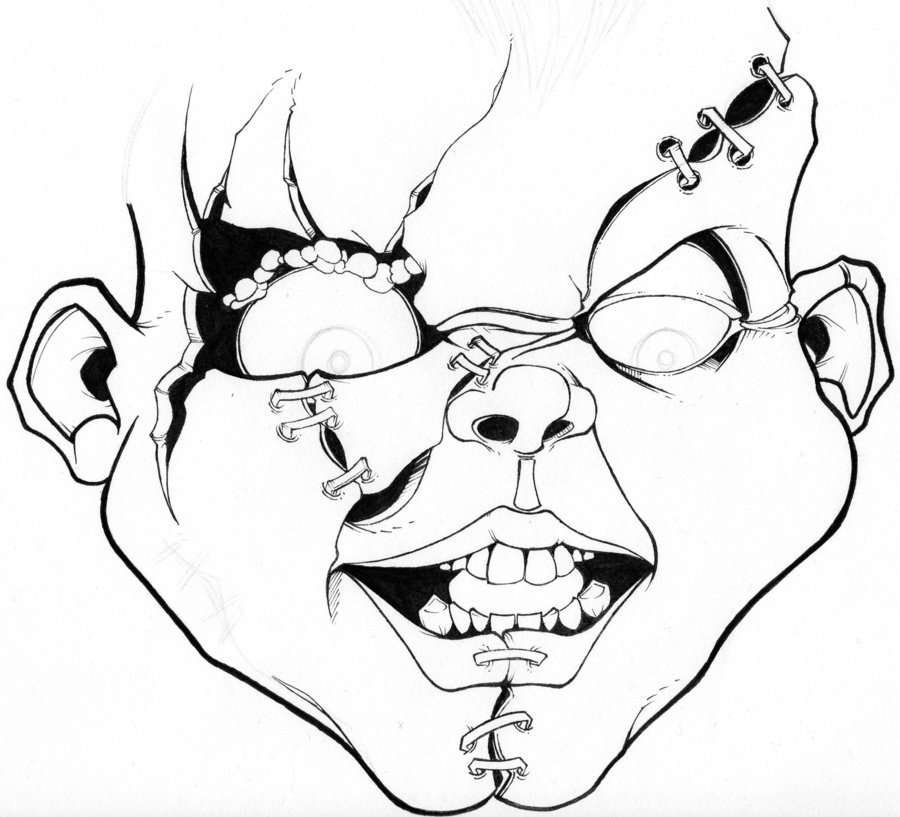 900x817 Scary Chucky Coloring Pages Scary Horror Coloring Pages