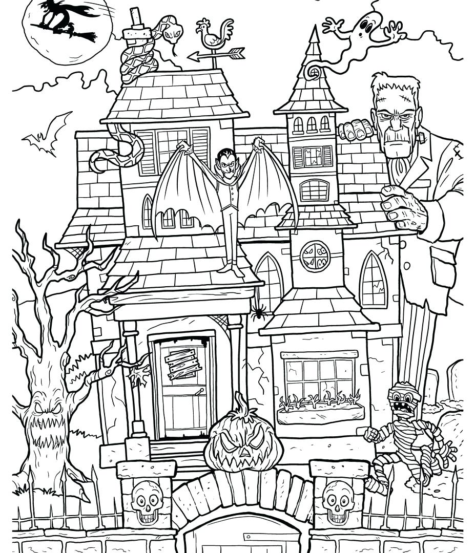 927x1080 Coloring Pages ~ Haunted House Coloring Page Free Printable