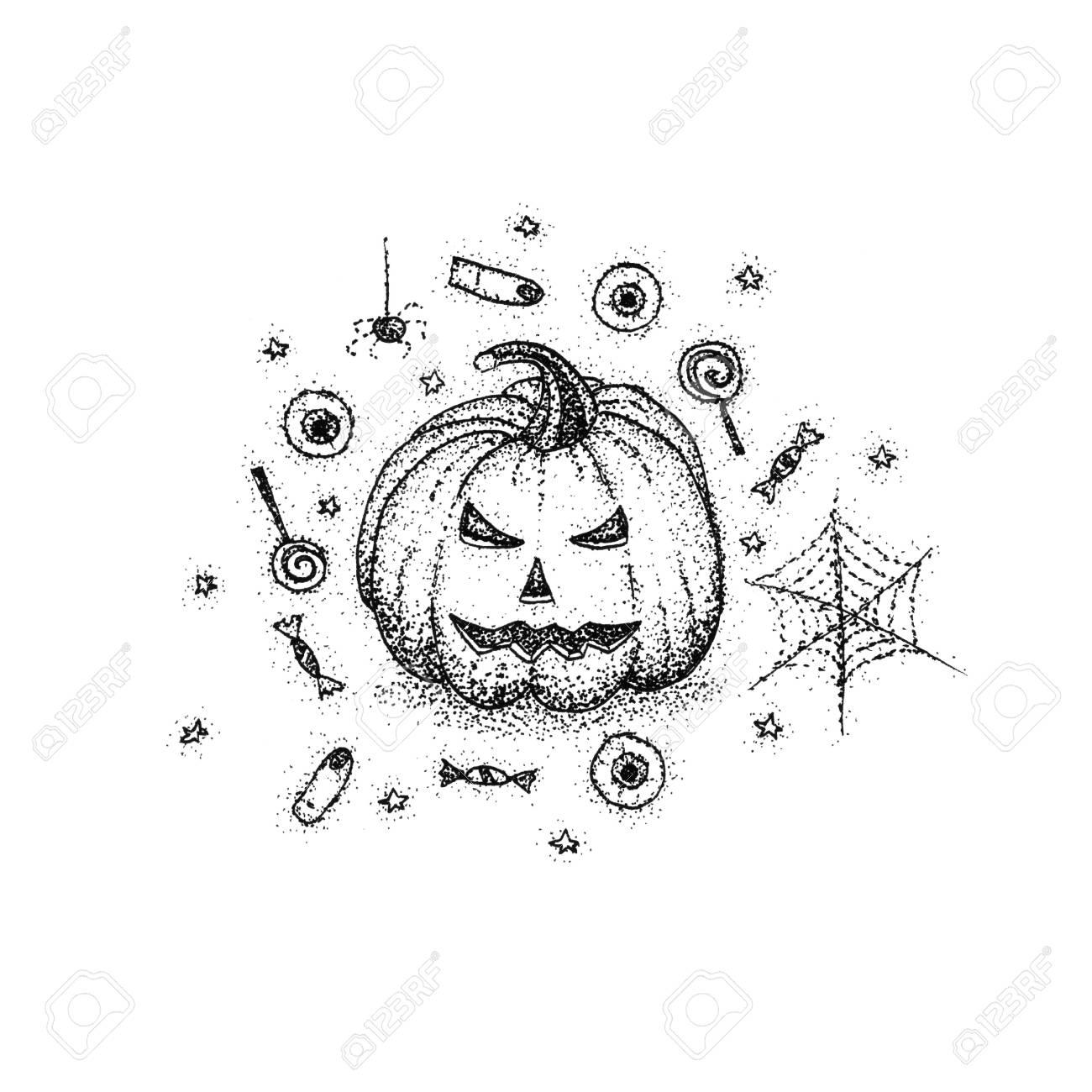 1300x1300 Halloween Pumpkin Dotwork. Raster Illustration Of Creepy Concept