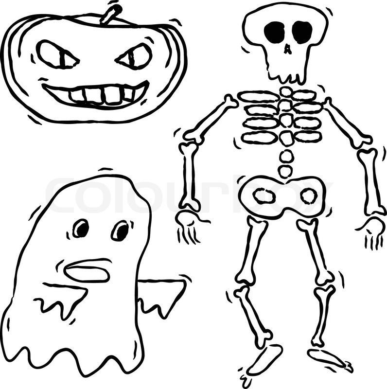 796x800 Hand Drawn Spooky Ghost, Skeleton And Pumpkin Stock Vector
