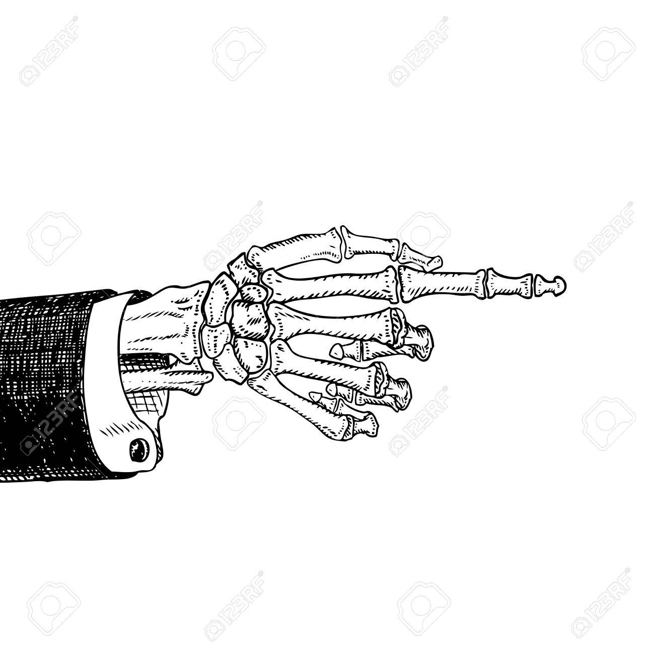 1299x1300 Scary Skeleton Hand Pointing, Hand Drawn Sketch, Black And White