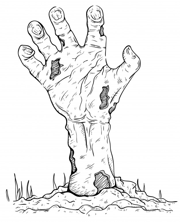 626x770 Scary Zombie Hand Rising From The Grave Vector Premium Download