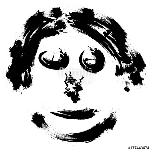 500x500 Abstract Face, Hand Draw Brush Vector Face Portrait Of A Scary Man