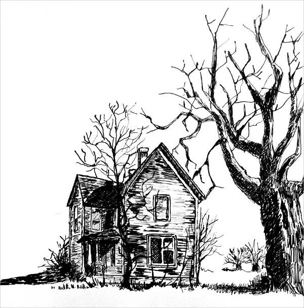 Scary House Drawing