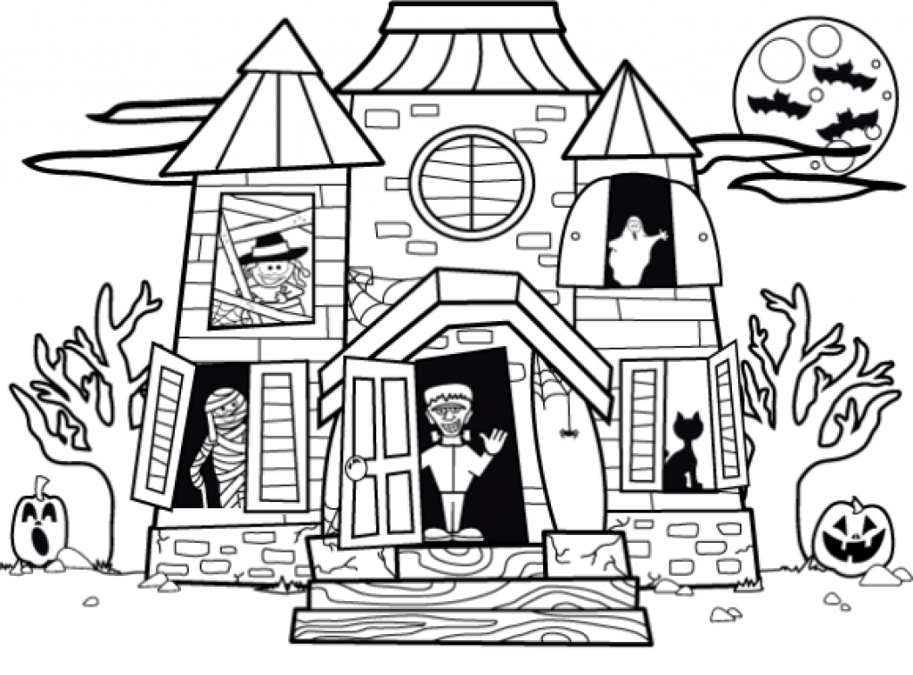 1024x757 Haunted House Coloring Sheet Tags How To