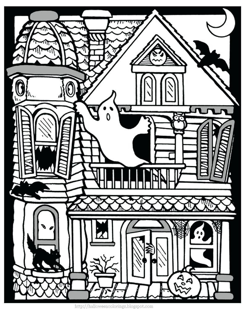 800x1000 Coloring Pages Haunted House Page Printable 2