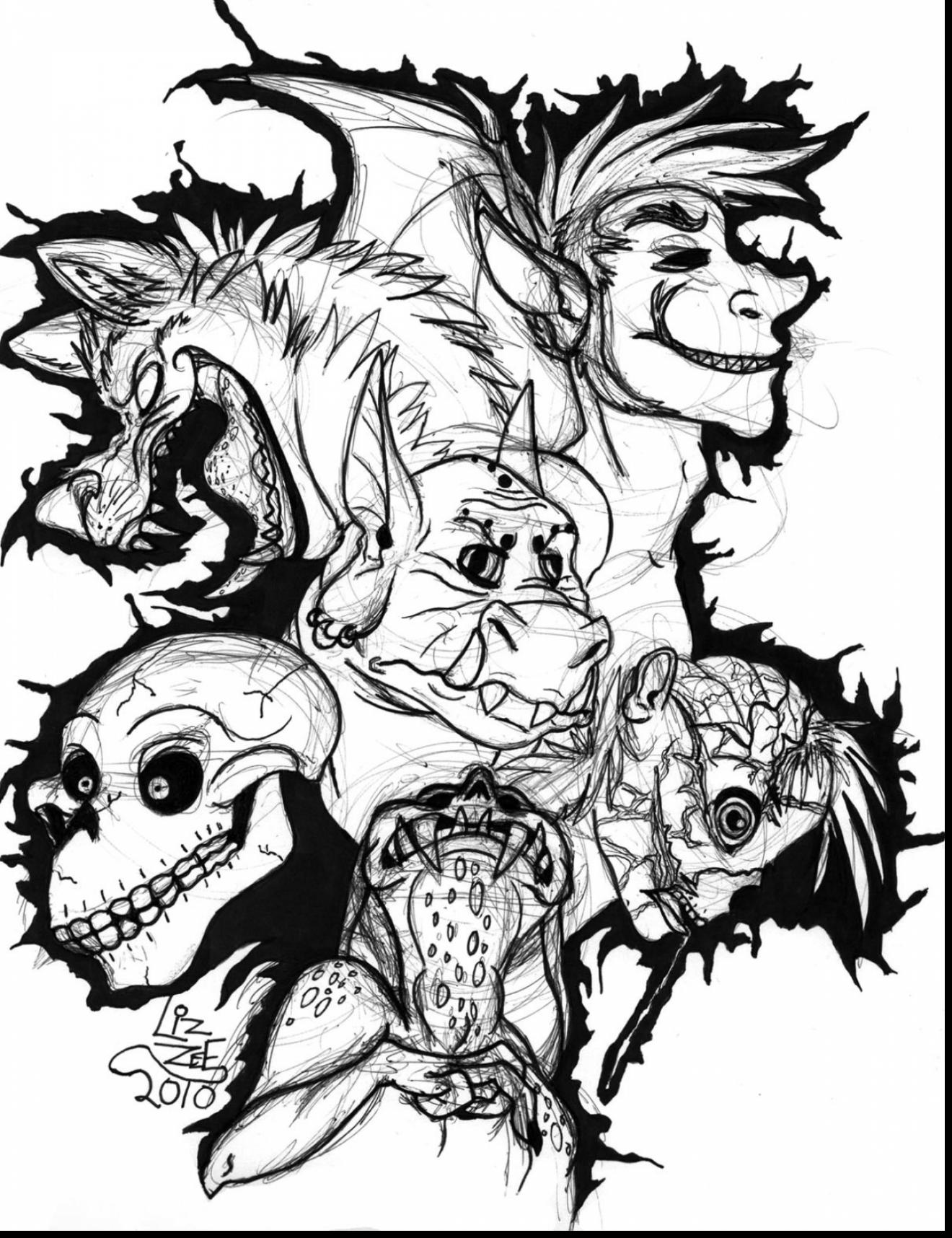 1320x1716 Fabulous Scary Monster Coloring Pages With Scary Coloring Pages