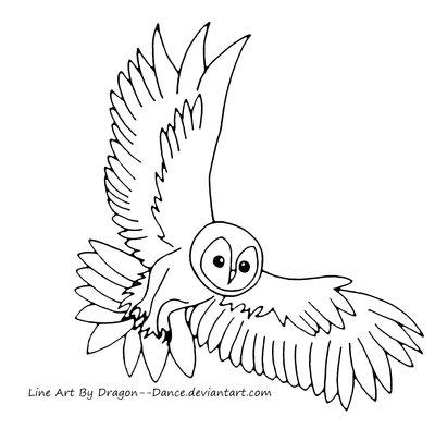 400x405 Tawny Owl Line Art By Dansudragon