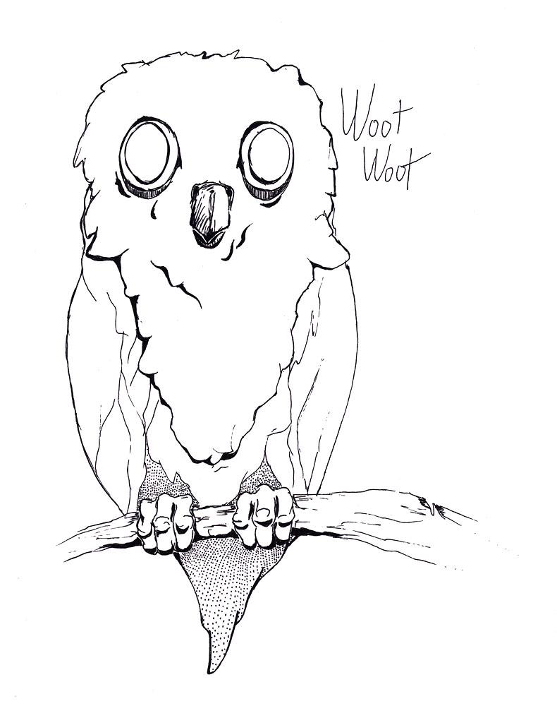 790x1000 A Less Than Creepy Owl Desksketch