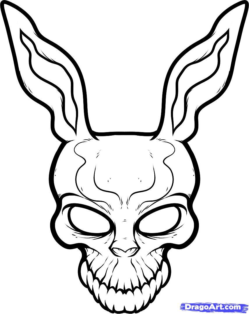 855x1079 How To Draw Frank The Rabbit, Donnie Darko, Step By Step, Movies