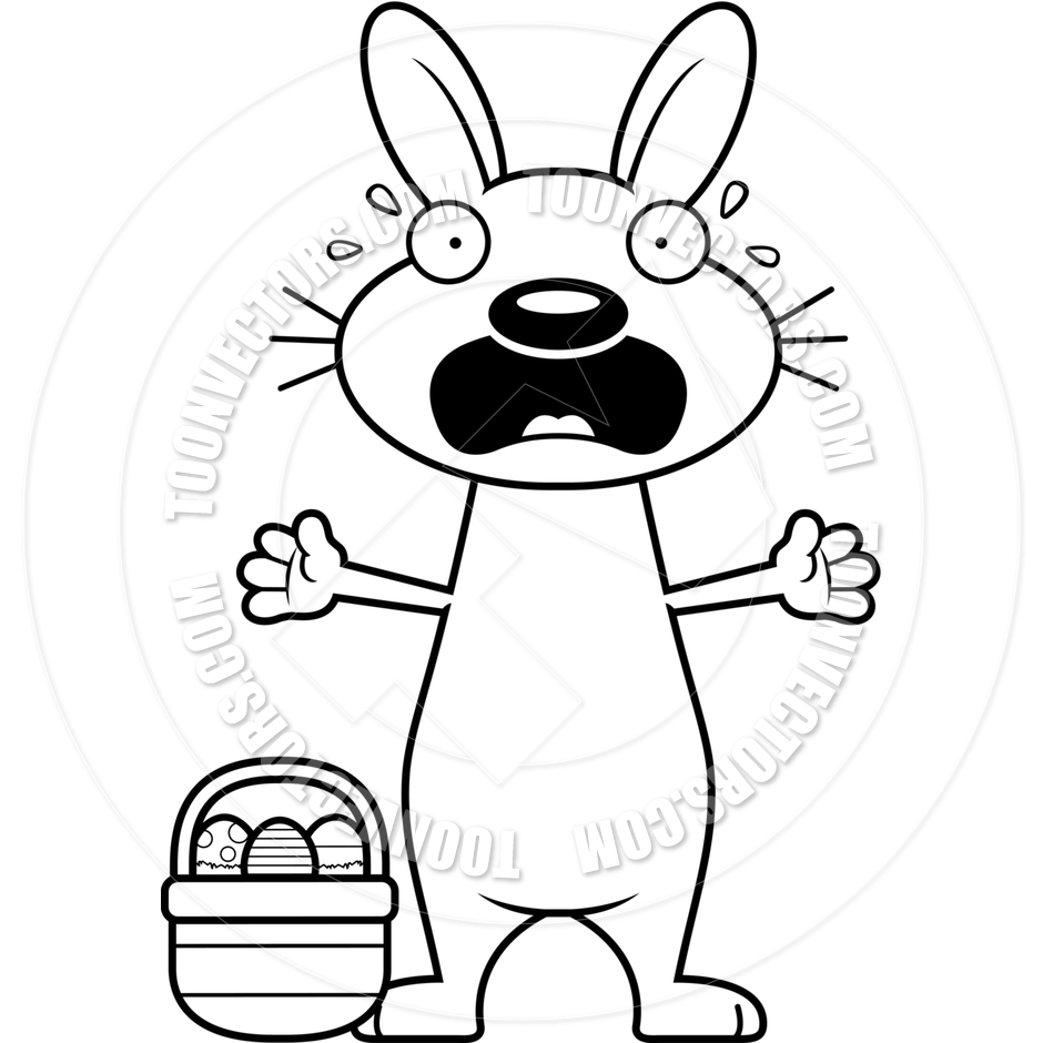 940x940 Cartoon Easter Bunny Scared (Black And White Line Art) By Cory