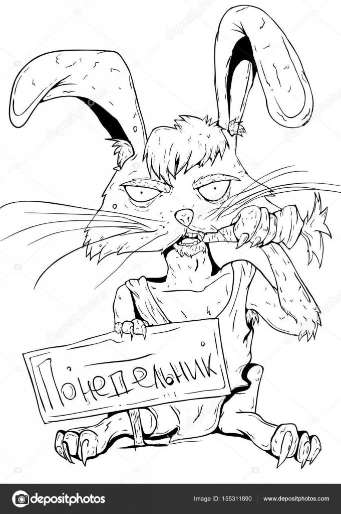 681x1024 Line Art. Scary Rabbit On Monday Stock Vector Seryoyezh