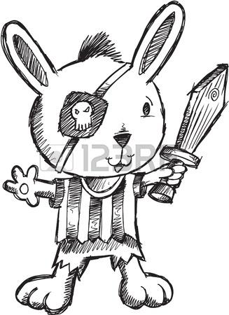 327x450 Doodle Sketch Pirate Bunny. Rabbit Illustration Royalty Free
