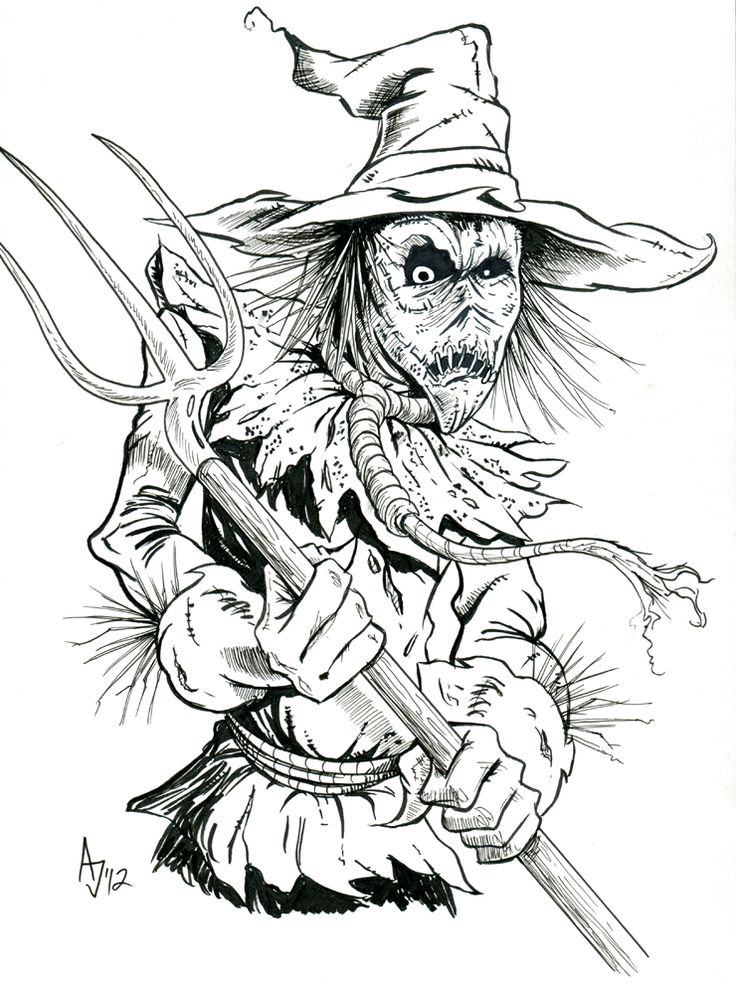 Scary Scarecrow Drawing