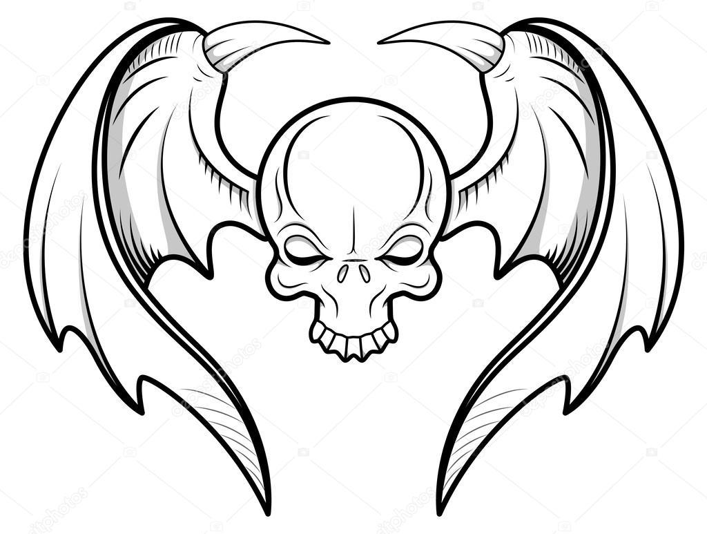 1024x773 Skull Flying Tattoo Vector Stock Vector Baavli