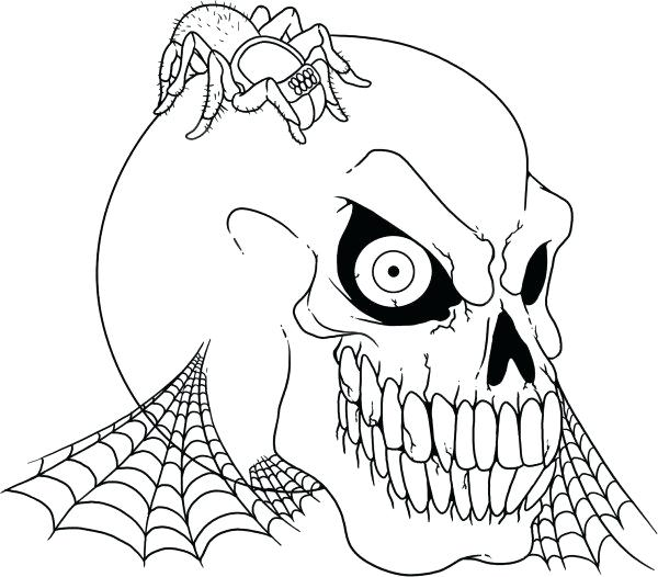 600x526 Spider Coloring Page Scary Skull And Spider Coloring Pages Spider