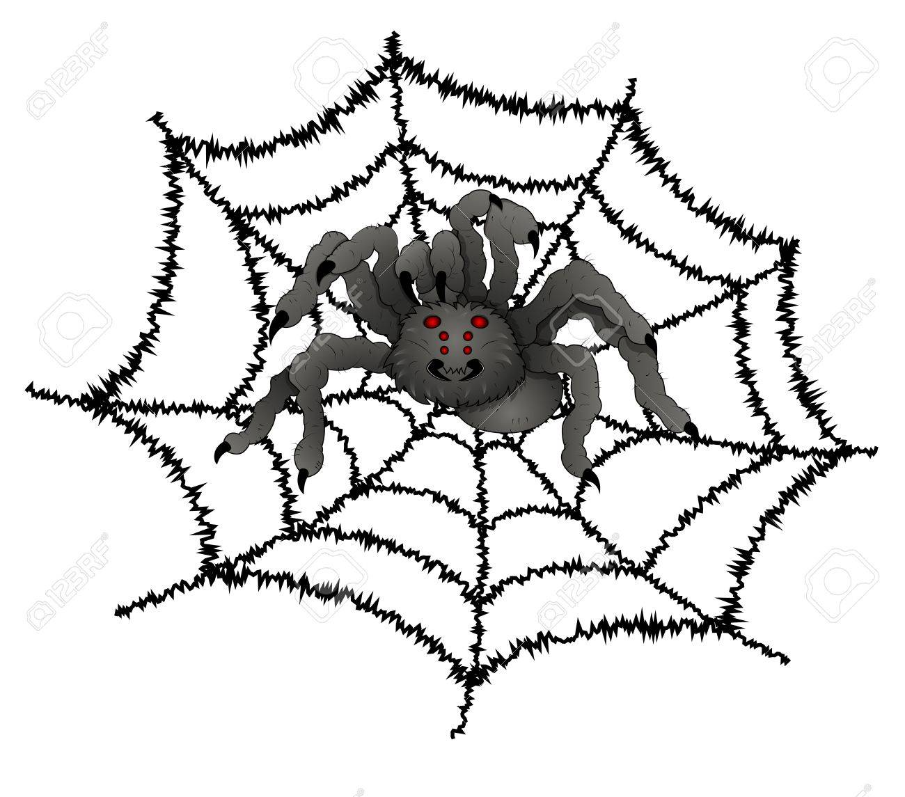 1300x1145 Scary Spider On Web Royalty Free Cliparts, Vectors, And Stock