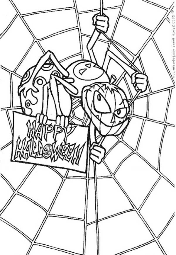 600x870 Scary Spider With Spider Web Coloring Page Color Luna