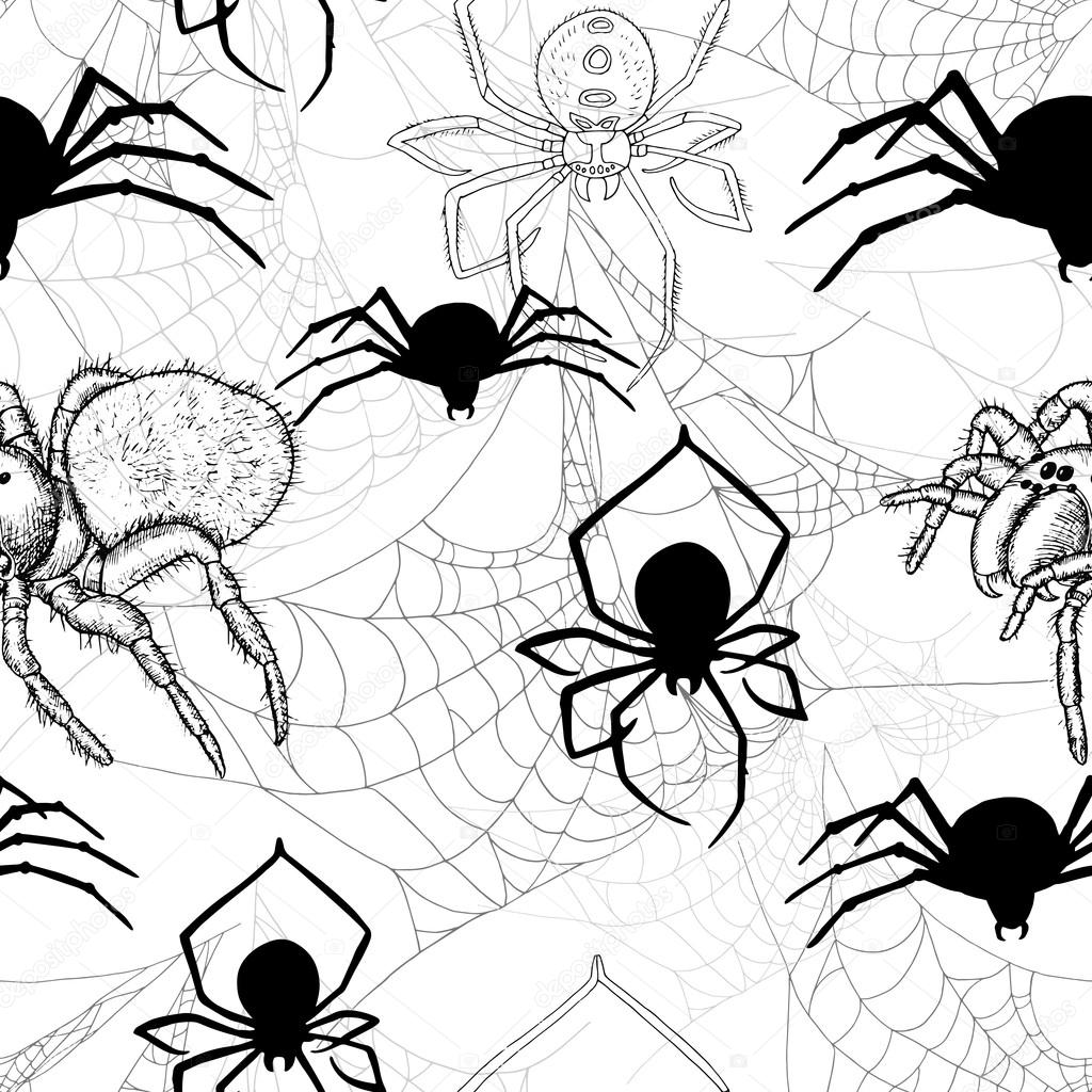 1024x1024 Seamless Pattern With Spiders And Cobwebs Stock Vector