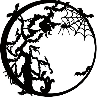 331x331 Halloween Circles 12 X 12 Witch Tree Scary,halloween,spider,web