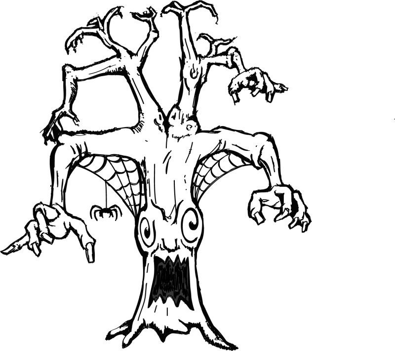 800x710 Printable Coloring Page Of A Scary Tree With Spider Web