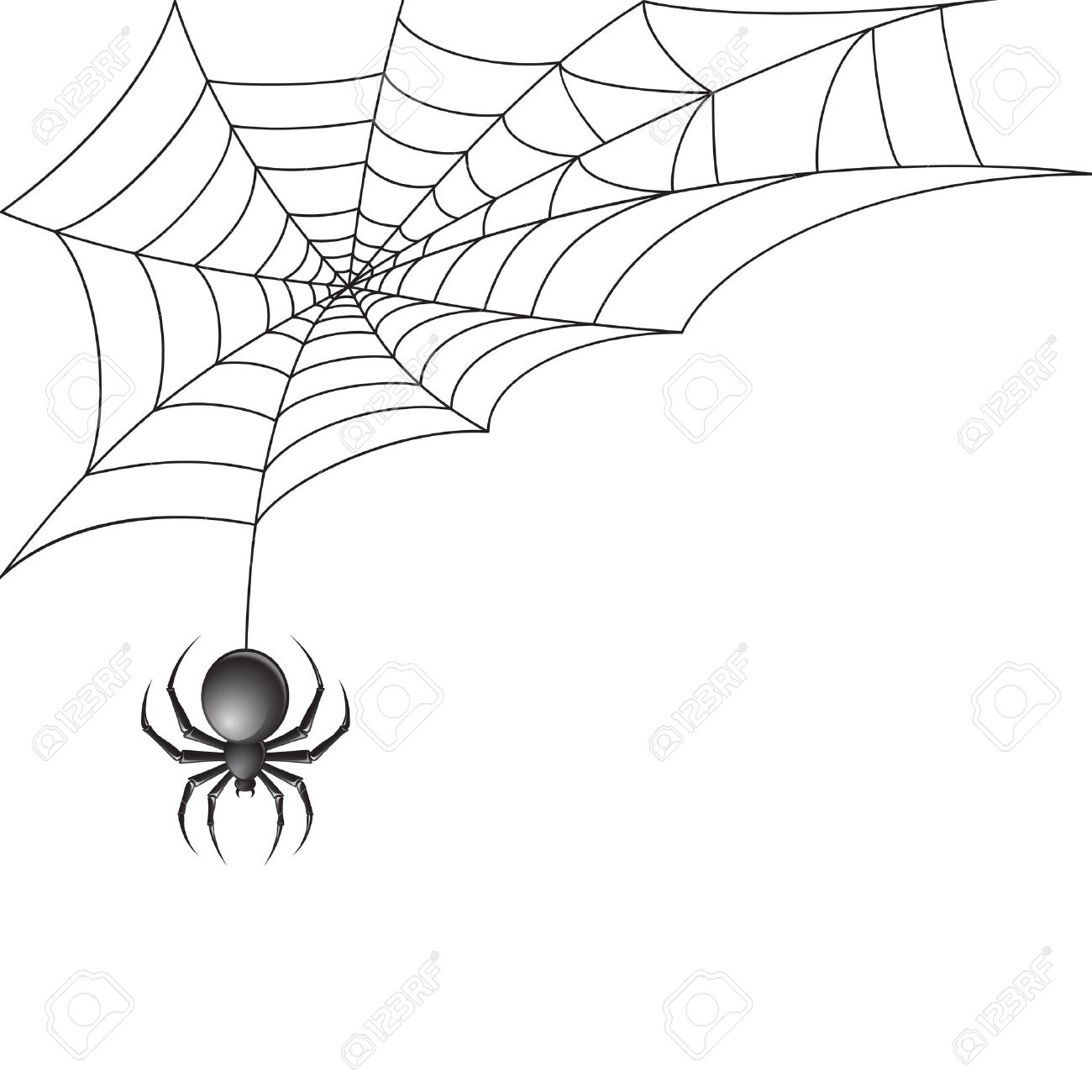 1300x1300 Black Scary Spider Insect With Web Background Royalty Free