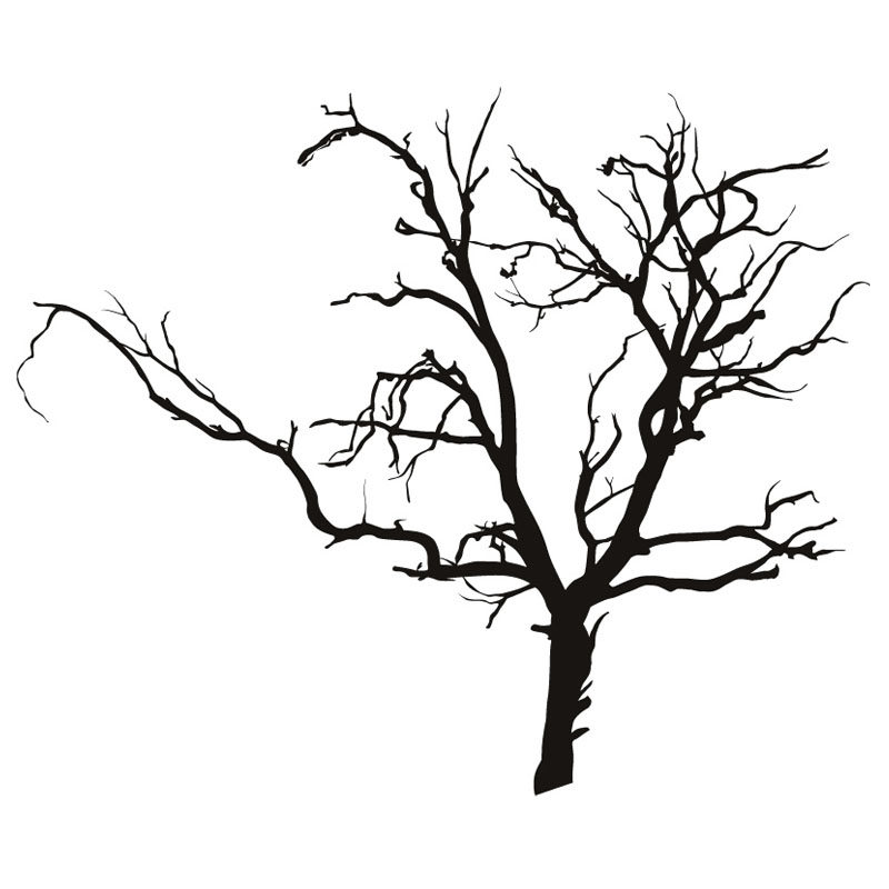 800x800 Dctop Adhesive Scary Bare Removable Black Tree Wall Sticker Living