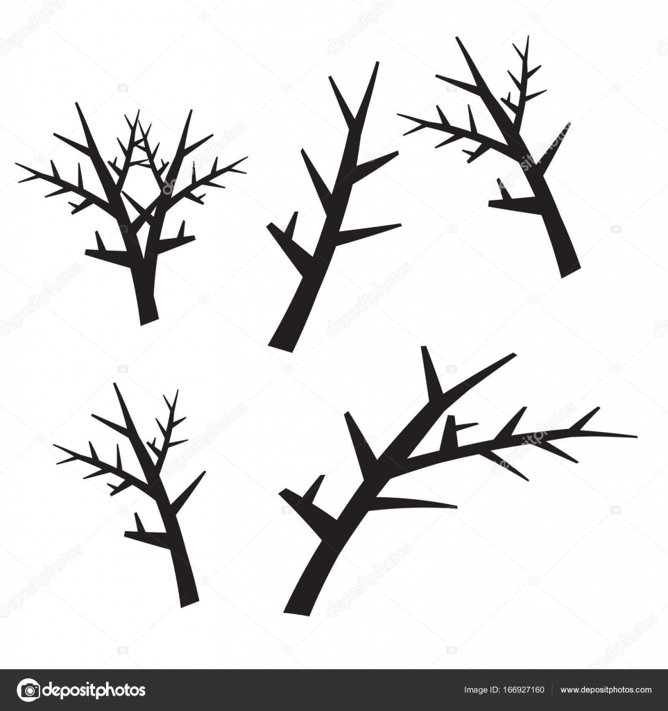 963x1024 Dead Tree Silhouettes. Dying Black Scary Trees Forest Vector Ill