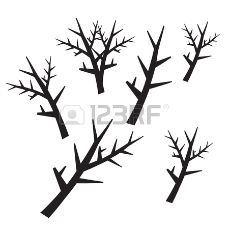 450x450 Dead Tree Silhouettes. Dying Black Scary Trees Forest Vector