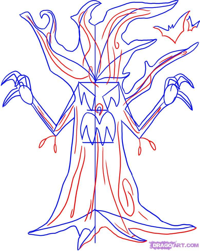 779x978 How To Draw An Evil Tree On The Halloween With A Pencil