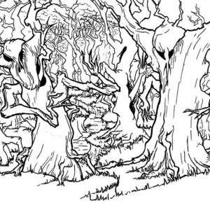 300x300 Kid Drawing A Forest Coloring Page Coloring Sky